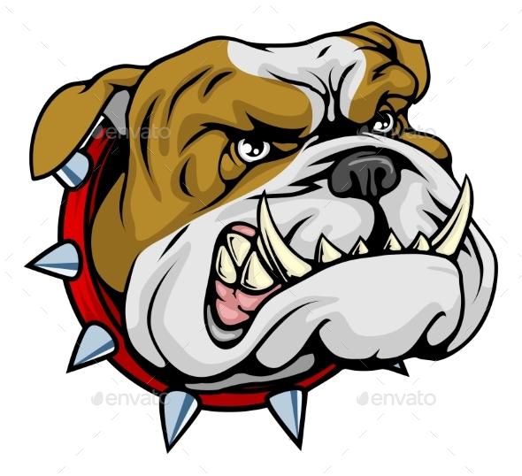Mean Bulldog Mascot Illustration - Animals Characters
