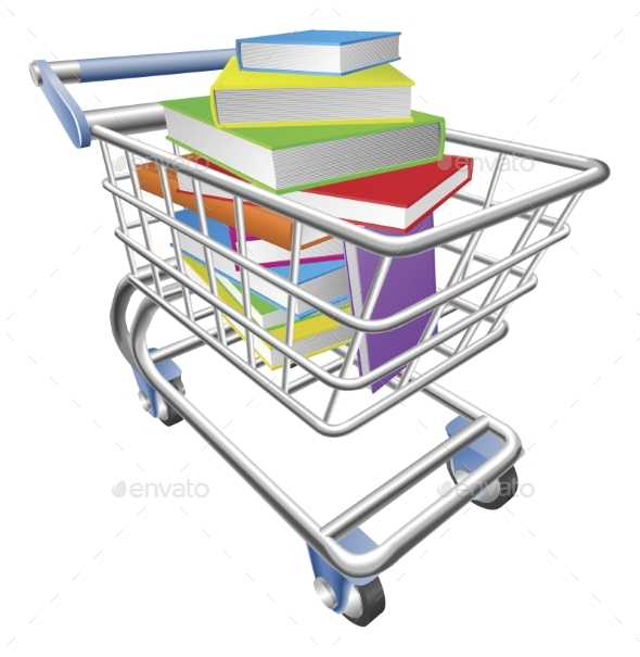 Shopping Trolley Cart Full of Books Concept - Man-made Objects Objects