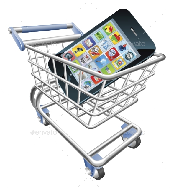 Smart Phone Shopping Cart Concept - Computers Technology