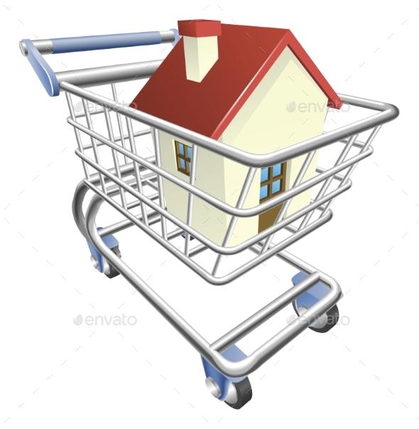 House Shopping Cart Concept - Miscellaneous Vectors