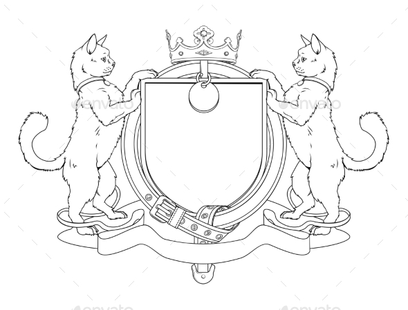 Cats Heraldic Shield Coat of Arms