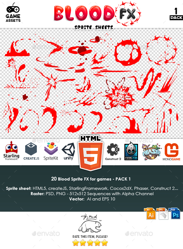 Blood Sprite FX for Games #1 - Sprites Game Assets