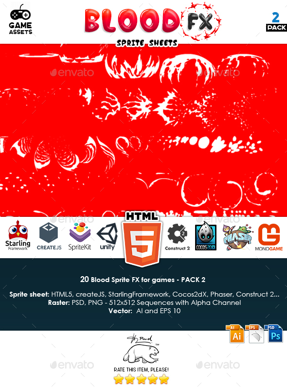Blood Sprite FX for Games #2 - Sprites Game Assets