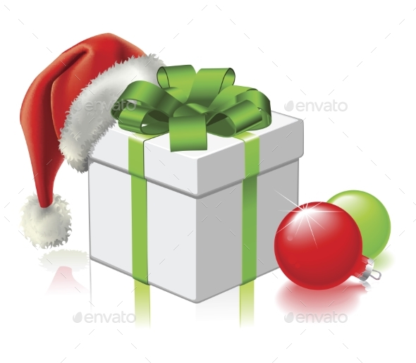 Christmas Gift with Santa Hat and Baubles - Christmas Seasons/Holidays