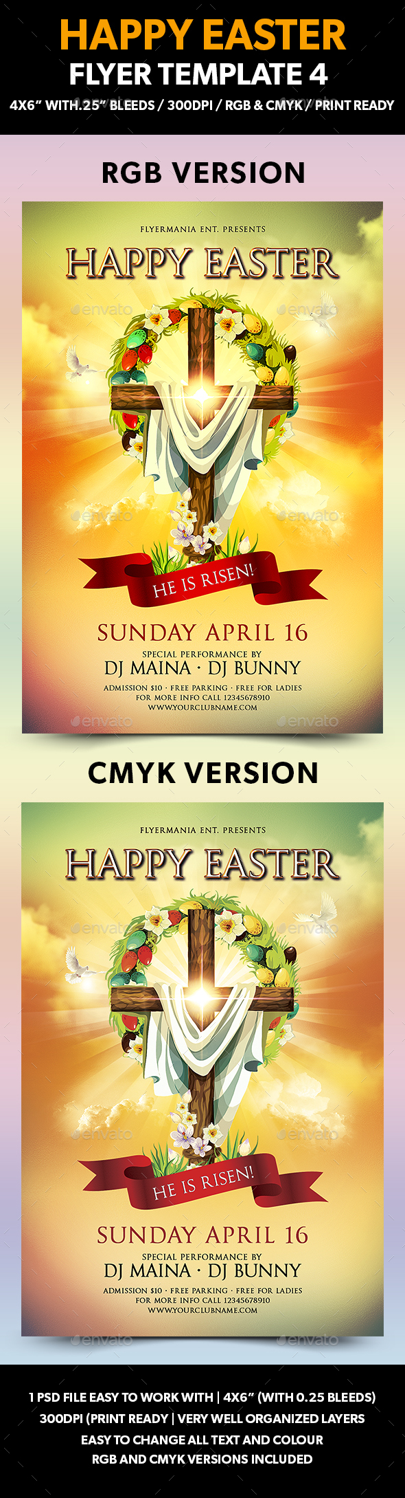 Happy Easter Flyer Template 4 - Flyers Print Templates