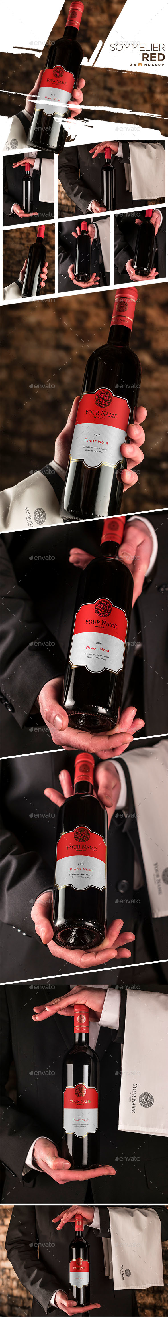 Sommelier Wine Mockup - Bordeaux Red - Food and Drink Packaging