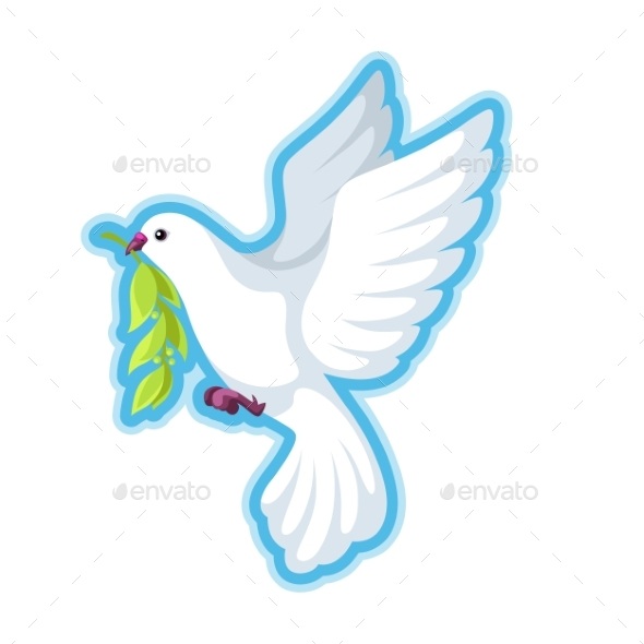White Dove of Peace Bears Olive Branch - Animals Characters