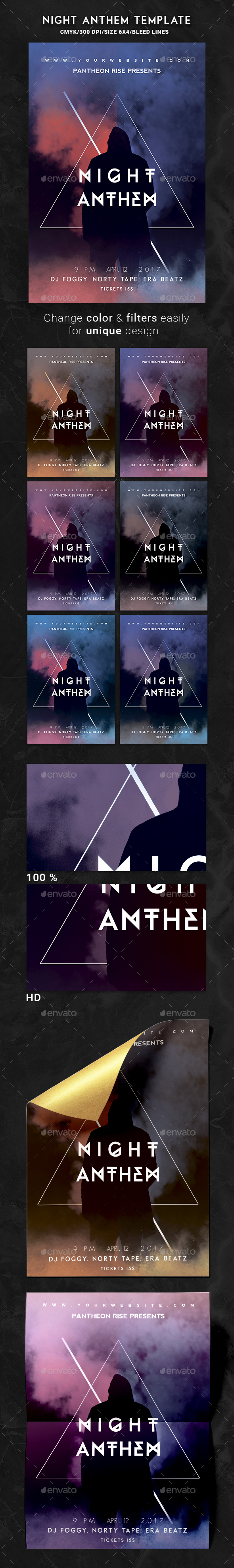 Night Anthem Flyer Template - Events Flyers