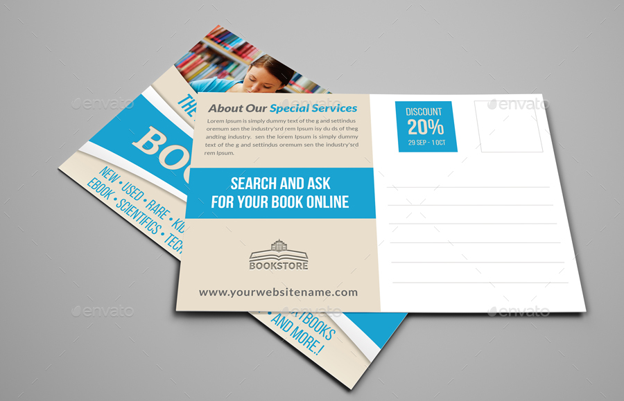 Bookstore Postcard Template by OWPictures   GraphicRiver