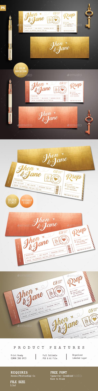 Elegant Gold Wedding Invitation Ticket - Wedding Greeting Cards