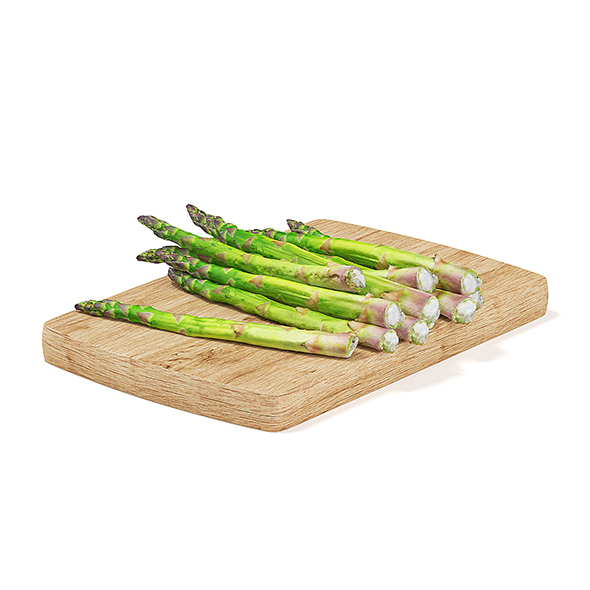 Asparagus on Wooden Board - 3DOcean Item for Sale