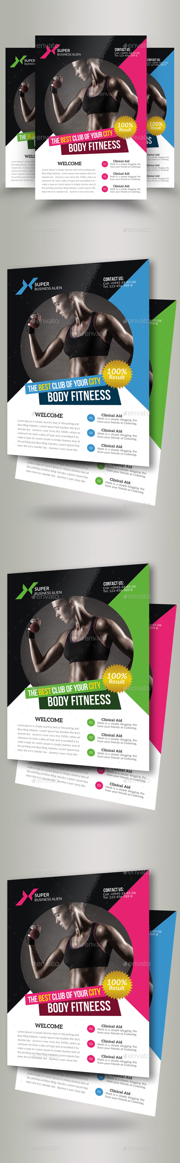 Body Fitness Club Flyer Template - Corporate Flyers