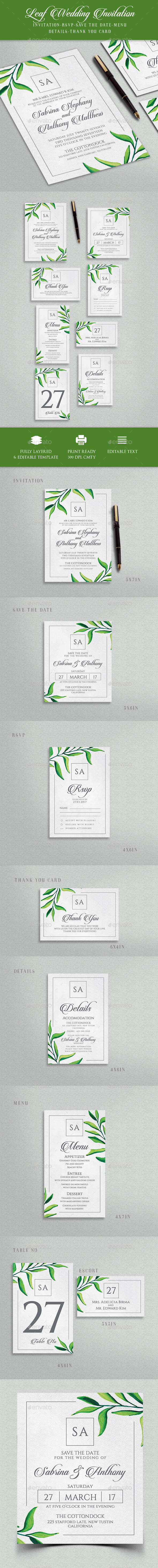 Leaf Wedding Invitation