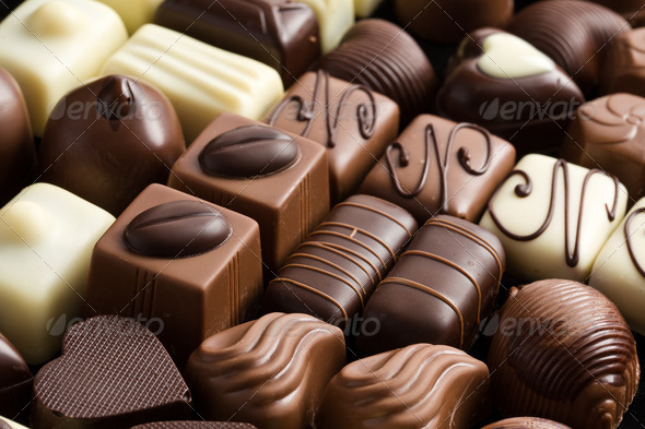 various chocolate pralines - Stock Photo - Images