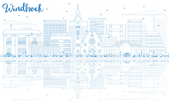 Outline Windhoek Skyline with Blue Buildings and Reflections. - Buildings Objects