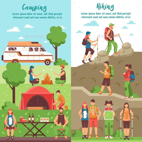 Hiking Group Vertical Banners - Landscapes Nature