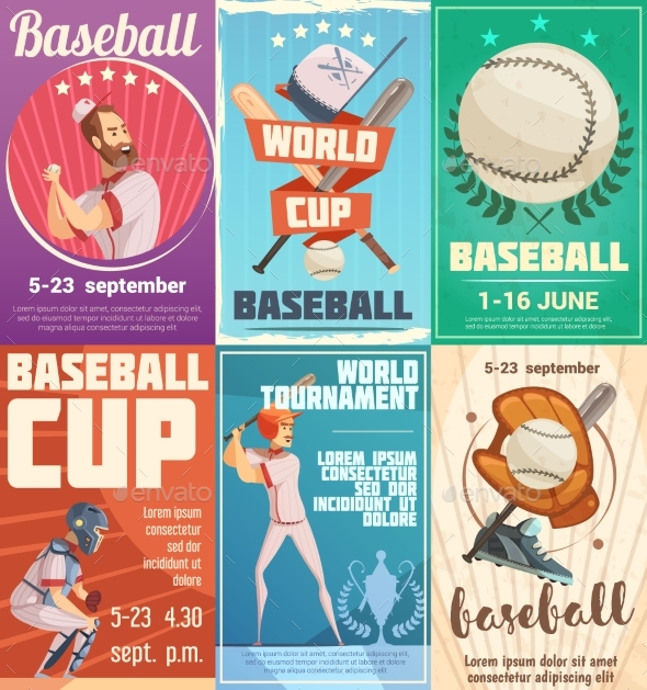 Set Of Baseball Posters In Retro Style - Sports/Activity Conceptual