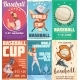 Set Of Baseball Posters In Retro Style - GraphicRiver Item for Sale