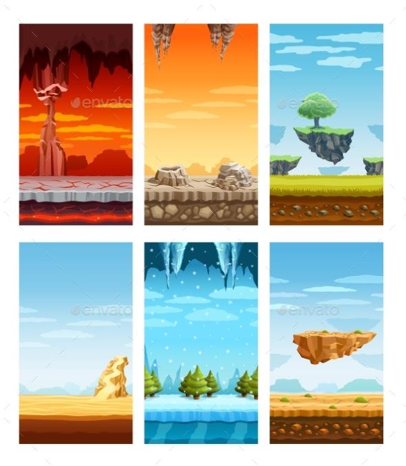 Computer Games Colorful Elements Cartoon Set - Nature Conceptual