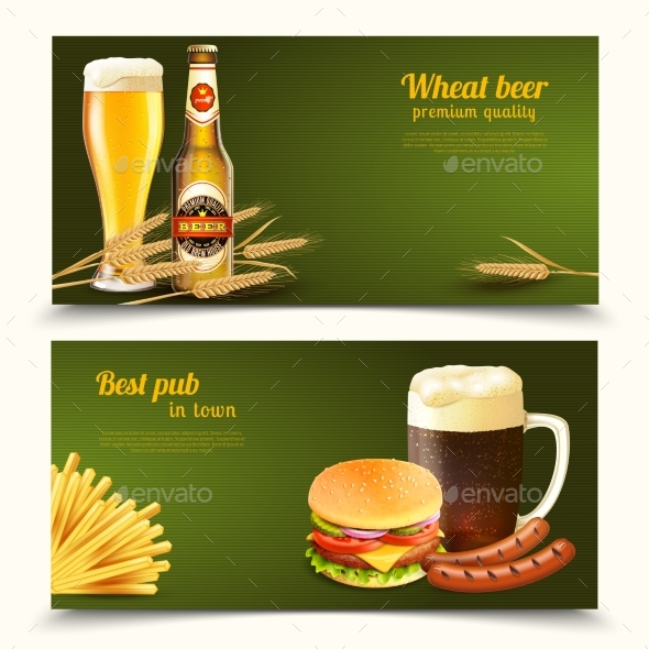 Realistic Beer Banners - Food Objects