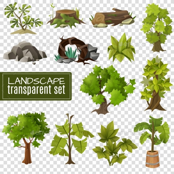 Landscape  Design Elements Set Transparen - Objects Vectors