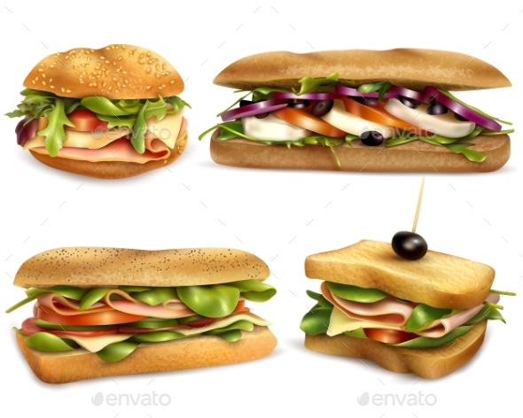 Healthy Fresh Ingredient Sandwiches Realistic Set - Food Objects