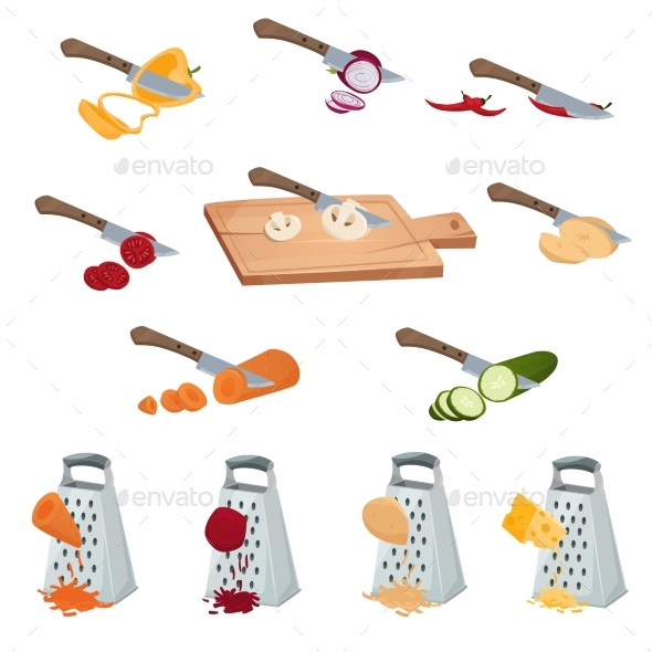Vegetables Preparing Set - Objects Vectors