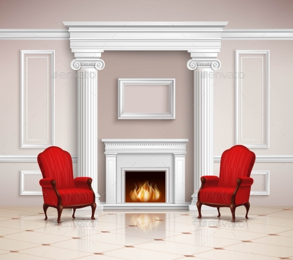 Classic Interior With Fireplace And Armchairs - Buildings Objects