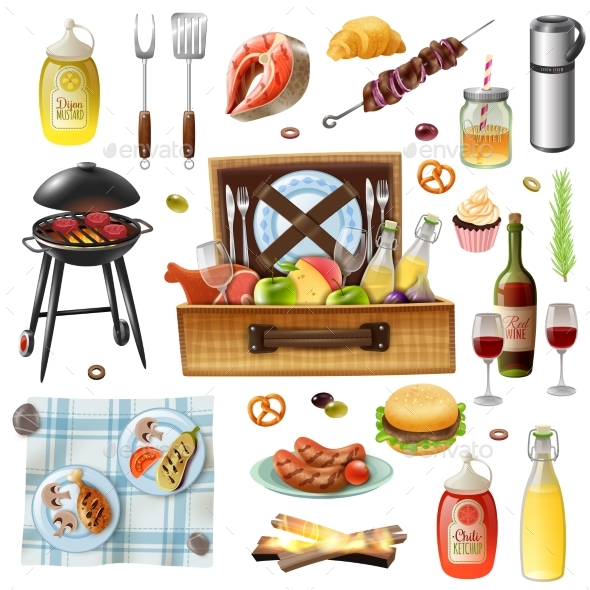 Family Picnic Barbecue Realistic Icons Set - Food Objects
