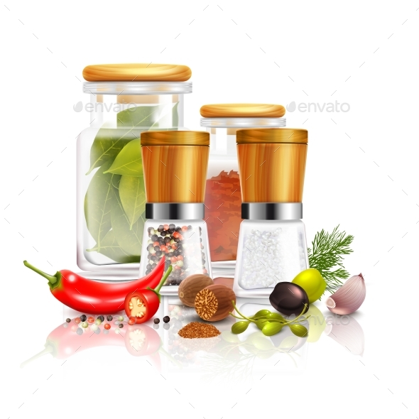 Spices 3D Composition - Food Objects