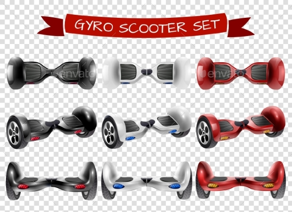 Gyro Scooter View Set Transparent Background - Miscellaneous Vectors
