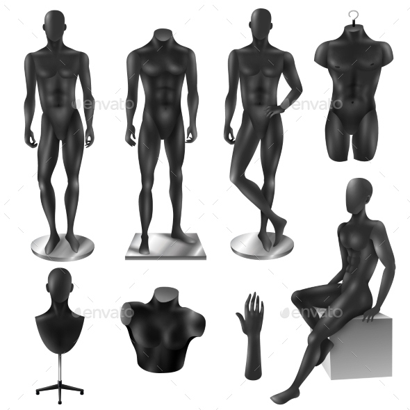 Mannequins Men Realistic Black Image Set - Man-made Objects Objects