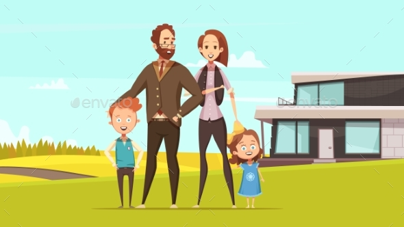 Happy Amicable Family Design Concept - People Characters