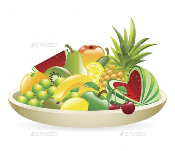 Bowl of Fruit Illustration - Miscellaneous Vectors