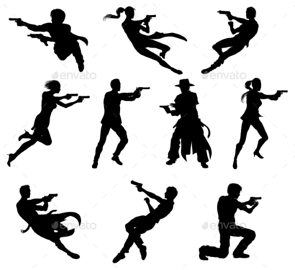 Shoot Out Silhouettes - People Characters