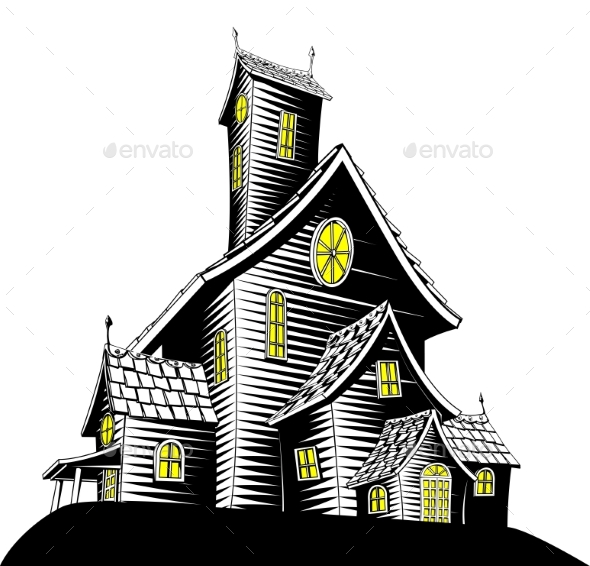 Scary Haunted House Illustration - Buildings Objects