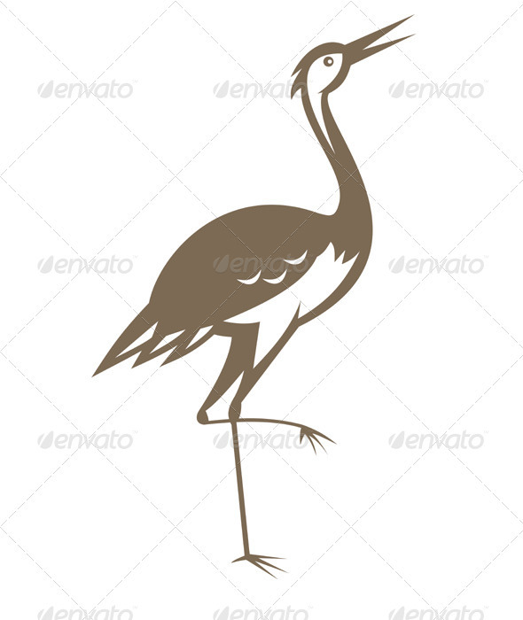 Crane Looking Up Retro Woodcut - Animals Characters