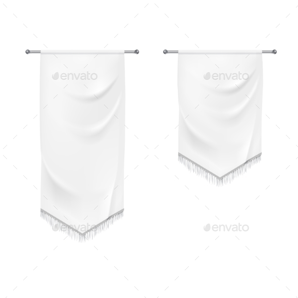 Realistic White Textile Banners with Folds - Miscellaneous Vectors