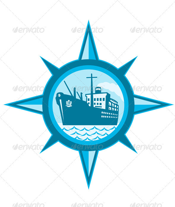 Passenger Cargo Ship Ocean Liner Compass - Objects Vectors