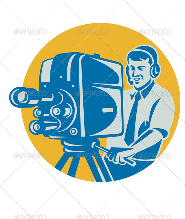 Film  Crew TV Cameraman With Movie Camera Retro - People Characters