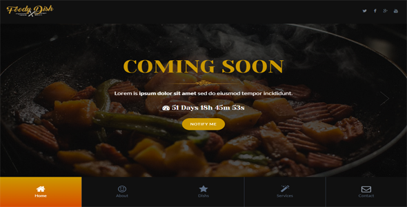 FoodyDish – Responsive coming soon Template