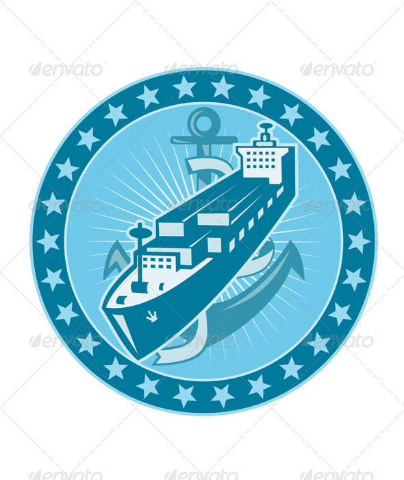 Container Ship With Anchor Stars Retro - Objects Vectors