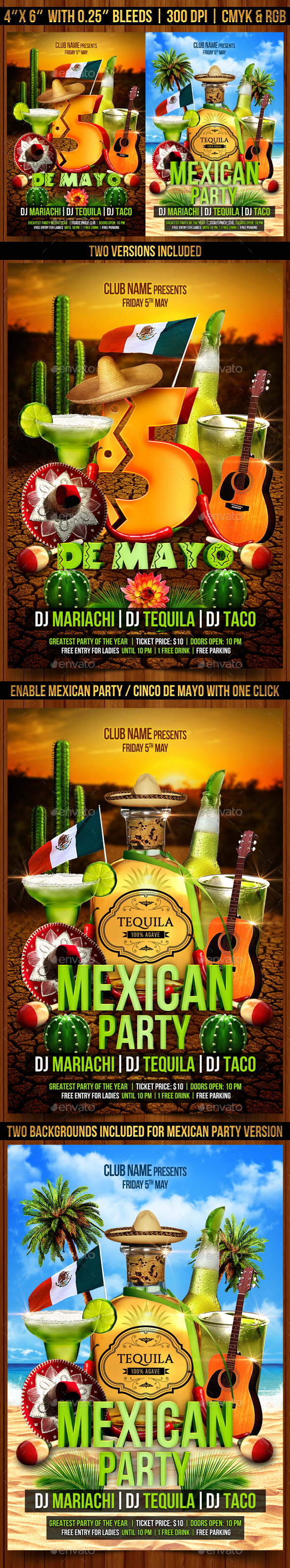Cinco de Mayo and Mexican Party Flyer - Clubs & Parties Events
