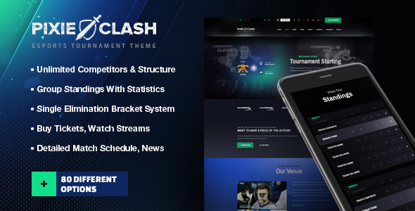 PixieClash – eSports gaming theme for tournaments & competitions