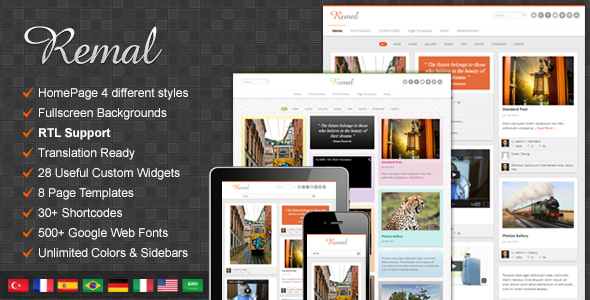 Remal - Responsive WordPress Blog Theme - Personal Blog / Magazine