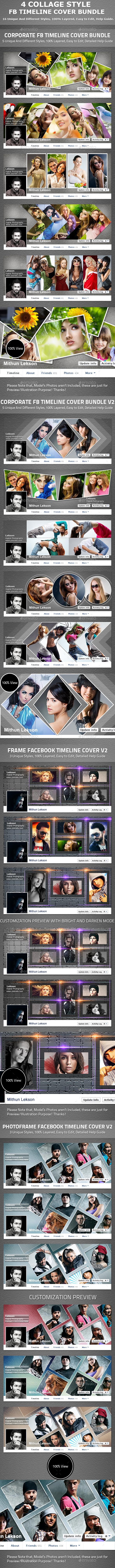 4 Collage Style Fb Timeline Cover Bundle - Facebook Timeline Covers Social Media