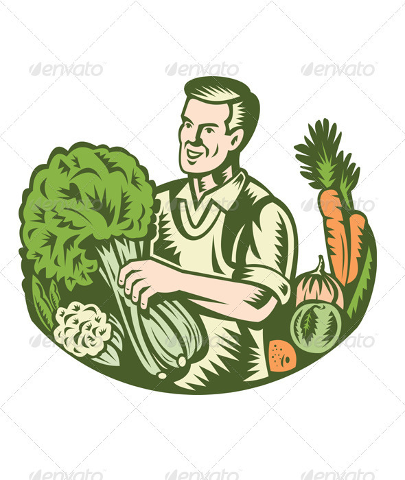 Organic Farmer Green Grocer With Vegetables Retro - People Characters