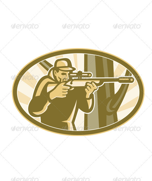 Hunter Shooter Aiming Telescope Rifle Retro - People Characters
