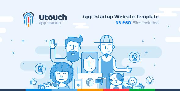 Utouch – App Startup Website PSD Template