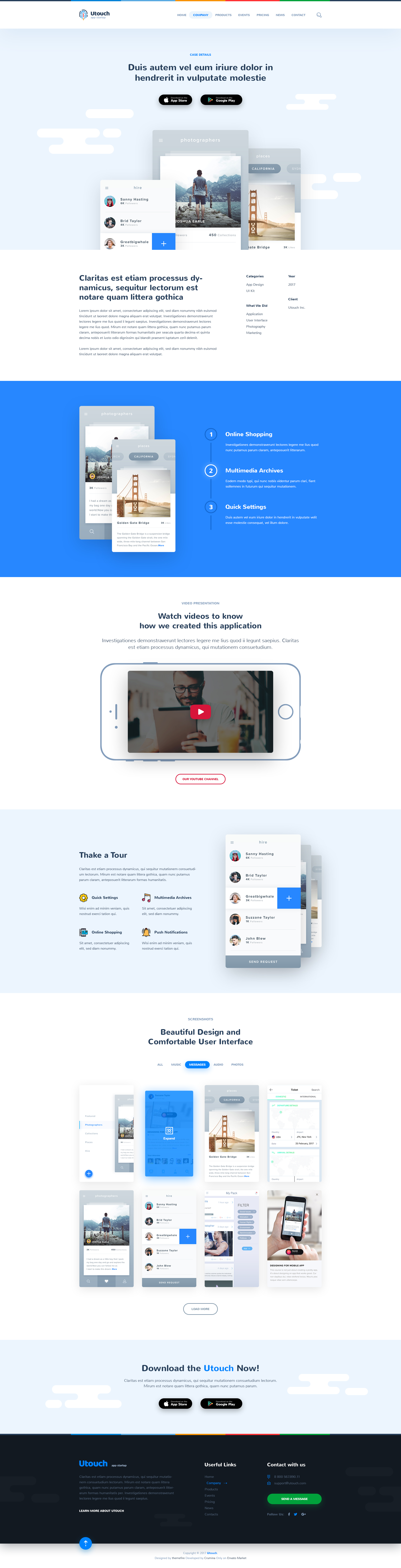 Utouch - App Startup Website PSD Template by themefire | ThemeForest